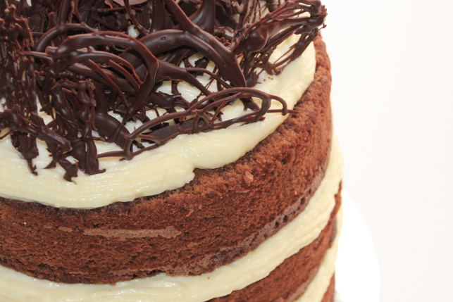 Tarta de chocolate y crema de queso